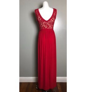 Windsor Dresses - Red & Lace Prom Dress